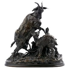 Pierre-Jules Mene Antique Bronze Sculpture of Goat And Kid
