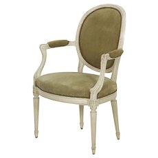 Vintage French Louis XVI Style Arm Chair in White Paint