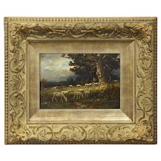 Sheep at Pasture Antique Oil Painting by Carleton Wiggins