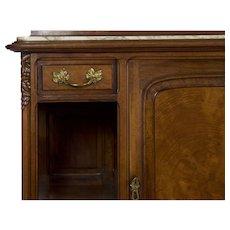 Circa 1900 French Art Nouveau Walnut Server Sideboard Buffet