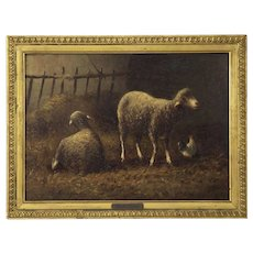 French Barbizon Antique Painting of Sheep by Charles Emile Jacque