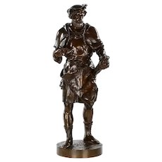 """Imagier, 15th Siècle"" Bronze Sculpture by Emile Picault (French, 1839-1915)"
