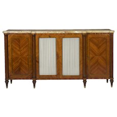 French Neoclassical Inlaid Fruitwood Server Sideboard circa 19th Century