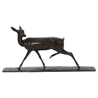 "Andre-Vincent Becquerel ""Doe in Stride"" Bronze Sculpture (French, 1893-1981)"