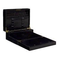 19th Century English Black Leather Stationary Writing Desk Box