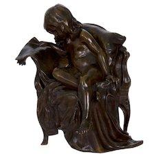 French Bronze Sculpture of Girl Reading Newspaper by Gertrude Bricard