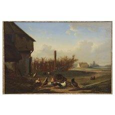 Johan Lodewijk Van Leemputten Antique Oil Painting of Chickens at Farm