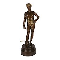 French Antique Bronze Sculpture of David by Antonin Mercie & Barbedienne