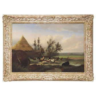 Antique Oil Painting of Chickens and Roosters Johan Lodewijk Van Leemputten