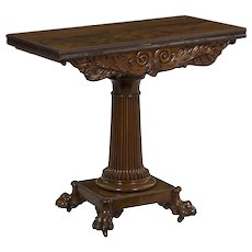 19th Century William IV Carved Mahogany Antique Card Game Table
