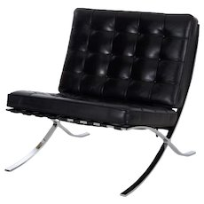 Modern Chrome Steel and Black Leather Barcelona Chair, circa 2003