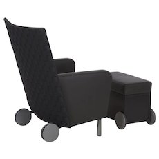 Modern Woven-Back Leather Arm Chair with Ottoman, 21st Century