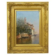 """Venetian Canal"" Antique Oil Painting by Warren Shepherd (American, 1858-1937)"