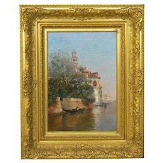 """Venetian Canal"" Antique Oil Painting by Warren Shepherd (American, 1858-1937)"