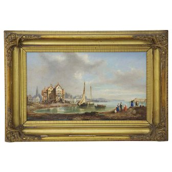 Antique 19th Century Landscape Oil Painting of Village, Signed