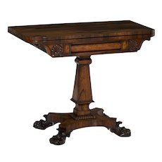 19th Century English Regency Antique Game Card Table