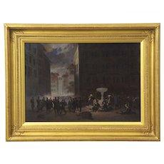 Auguste Doviane (Italian, 19th Century) Antique Oil Painting of Battle