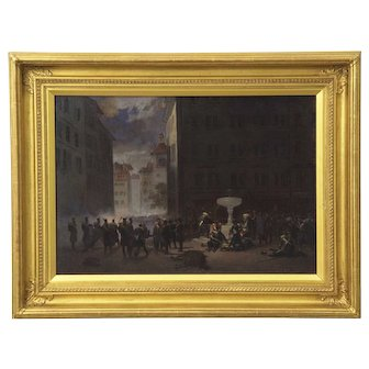 Auguste Doviane (Italian, 19th Century) Antique Oil Painting of Battle