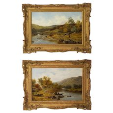 Pair of Antique English Landscape Paintings by Thomas Scott Callowhill