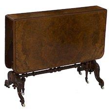 English Victorian Burl Walnut Sunderland Table, 19th Century