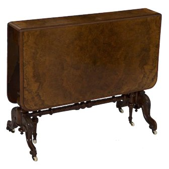 English Victorian Burl Walnut Sunderland Table, 19th Century