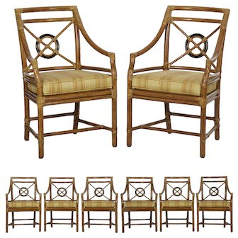 Set of Eight Vintage McGuire Rattan Dining Chairs