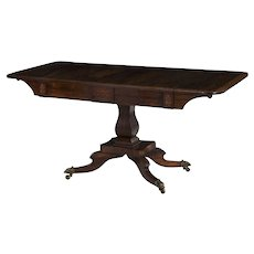 English Regency Inlaid Rosewood Antique Sofa Table, 19th Century