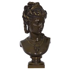 "Eugene Aizelin (French, 1821-1902) Bronze Antique Sculpture ""Bust of Female in Tiara"""