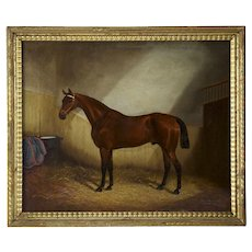 Antique Equestrian Horse Painting by James Albert Clark, 19th Century