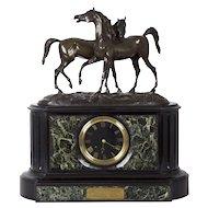 Antique Bronze Equestrian Sculpture Group on Black Slate & Marble Mantel Clock