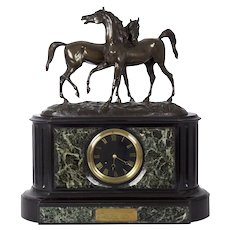 Antique Bronze Equestrian Sculpture Group on Black Slate & Marble Mantel Clock
