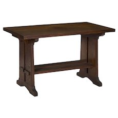 American Arts & Crafts Oak Antique Trestle Writing Desk Table