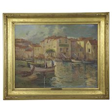 French Impressionism Antique Oil Painting of Fishing Harbor by Paul Balmigere
