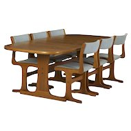 Mid Century Modern Trestle Dining Table and Six Chairs by Gangso Møbler