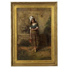"19th Century Genre Scene Antique Oil Painting on Canvas of ""Young Girl at Wall Fountain"""