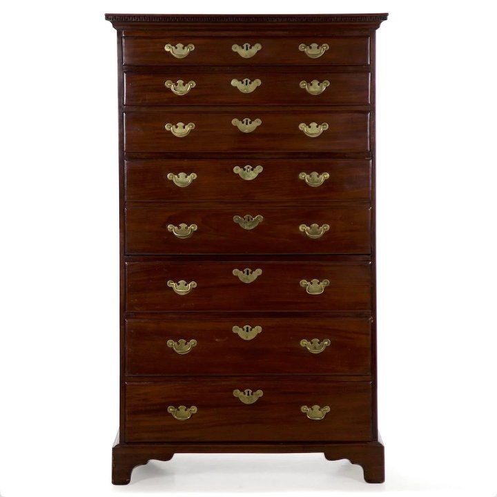 Chippendale Mahogany Antique Tall Chest Of Drawers W Secretary Desk