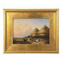 Landscape Painting of Chickens in Yard by Cornelis Van Leemputten