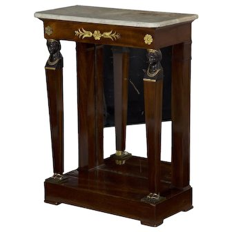 19th Century French Egyptian Revival Pier Table w/ Marble Top