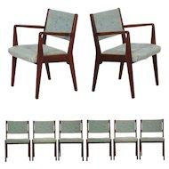 Set of Eight Mid Century Modern Jens Risom Walnut Dining Chairs