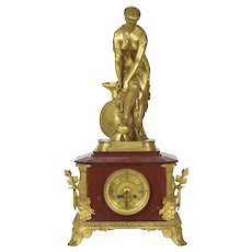 "French Antique Gilt Bronze Mantel Clock of ""Thetis"" by Pierre Emile Hébert"