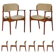 Set of Eight Danish Mid Century Erik Buch for O.D. Møbler Dining Chairs