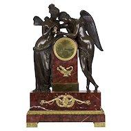 French Empire Antique Figural Bronze Mantel Clock of Psyche & Cupid circa 1825