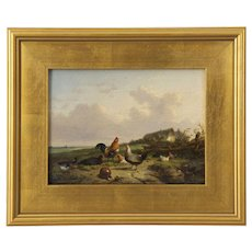 19th Century Landscape Painting of Duck and Chickens by Cornelis Van Leemputten