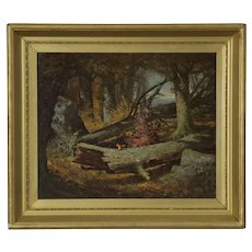 Antique Oil Painting of Squirrel by Frederick Batcheller (American, 1837-89)