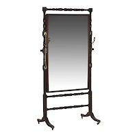 19th Century English Regency Period Antique Cheval Mirror