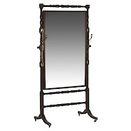 19th Century English Regency Period Antique Cheval Mirror