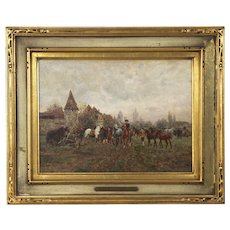 Antique Oil Painting of Horse Fair by Wilhelm Velten (Russian, 1847-1929)