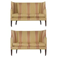 Pair of English George III Antique Canapé Sofas, 19th Century