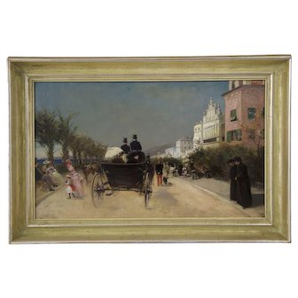 Antique French Oil Painting of Nice, France circa 1883 by Gabriel Edouard Nicolet