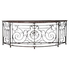 19th Century French Antique Wrought Iron Console Server Table